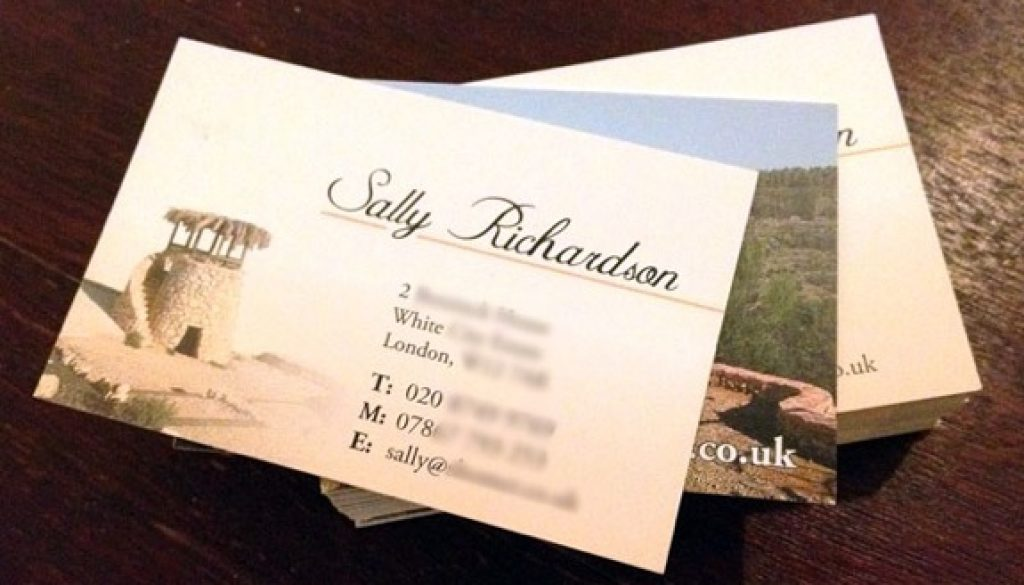 Business cards for Sally – Blue Eye Graphics Ltd
